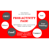FSHS Activity Fair, FREE Fun for All Ages prior to the first home football game!