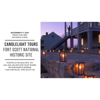 Candlelight Tours of the Fort Scott National Historic Site, Friday, Dec. 6th from 6:30 to 9pm, Saturday, December 7th from 5 to 9pm