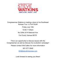 Congressman Steve Watkins making a stop in Fort Scott!