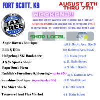 No Sales Tax Holiday Weekend - Shop Local Fort Scott 8/6 thru 8/8