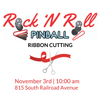 Rock 'N Roll Pinball Ribbon Cutting