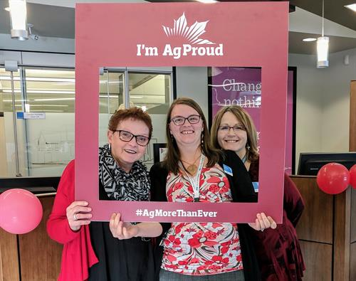 Janet, Alison, and Leah celebrating Canada's Agriculture Day! (February 2018)