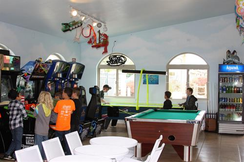 Family fun center, arcade, family billiard table & air hockey