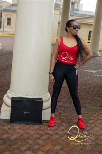 Women's Red Bodysuit with Matching Legging