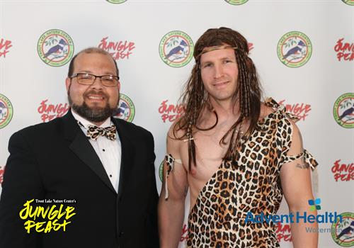 """Tim with """"Tarzan"""" at the first Jungle Feast.  FunVenture created this event for Trout Lake Nature Center"""