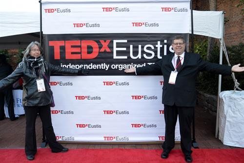 Byron with event guest Vicki Paul  FunVenture creates and hosts TEDxEustis since 2018