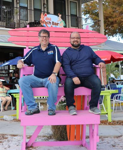 Tim and Byron taking a break while planning Downtown Tavares Scavenger Quest - and event for Tavares Chamber of Commerce