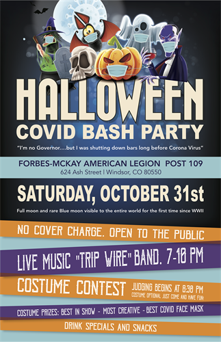 HALLOWEEN COVID BASH PARTY POSTER (AMERICAN LEGION)
