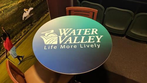 Table top graphics in the Budweiser Events Center Suites.