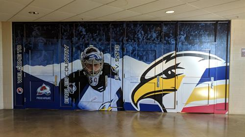 We are the official Sign Sponsor for the Colorado Eagles! Door and entryway wrap at the Budweiser Events Center for the Colorado Eagles