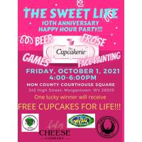 The Cupcakerie Celebrates 10 Years in Business on October 1, 2021 from 4-6pm on the Mon County Courthouse Square!