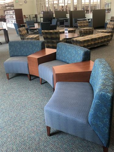 There is comfortable seating throughout the library.