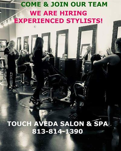 Do you have a favorite stylist & wish they would join a fun and enthusiastic team? Look no further..we are hiring talented, experienced, and energetic stylists!