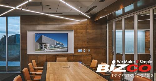 "At Bizco, we specialize in integrated designs for your audio/video system. Through our careful process of planning, design, installation, and continued maintenance, we ensure your company has the cutting-edge technology needed to enhance collaboration and achieve a ""wow"" factor with your clients."