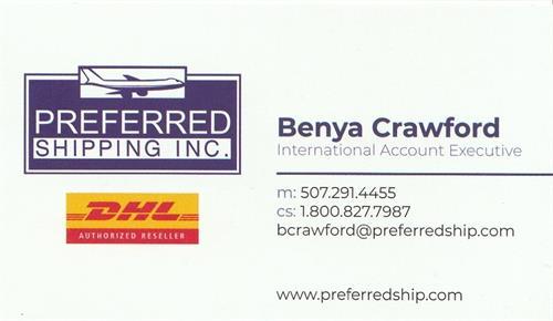 Benya Crawford International Account Executive - www.preferredship.com