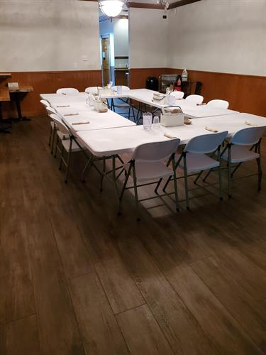 Our meeting room is perfect for small events and meetings (fits up to 30)
