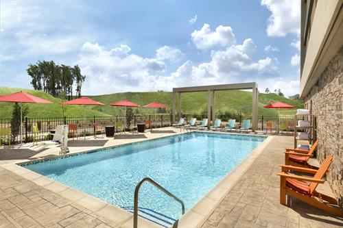 Take a dip in our sparkling saline pool, open year round.
