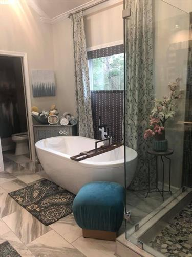 Bathroom with Soft Shades and Drapes