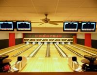Cedars 3,  8 lane Bowling alley with party room and patio, and menu
