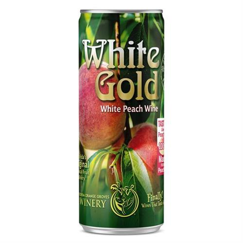 White Gold Peach Wine Slim Can