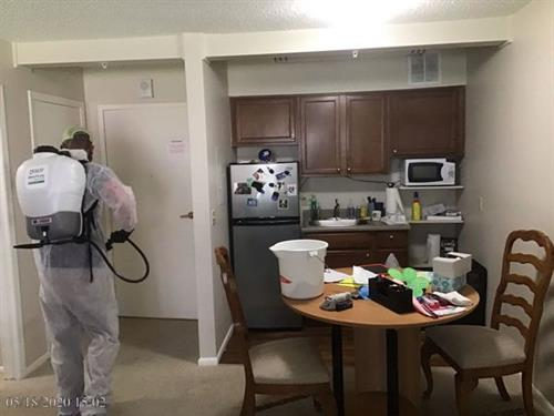 Our crews worked to disinfect and provide a safe environment for the homeowner as well as peace of mind for her family.