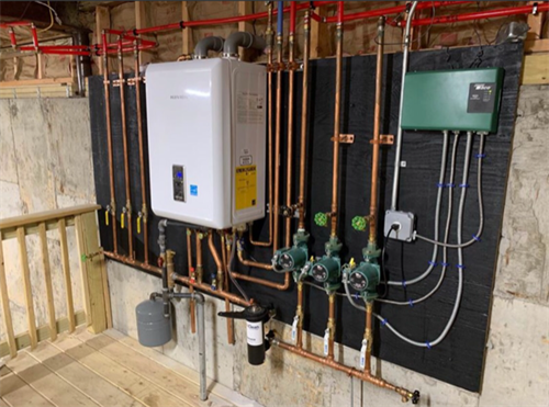 Navien Wall hung boiler for a larger heating system.