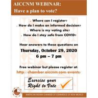 AICCNM Third Wednesday Webinar Series-Do you have a voting plan?