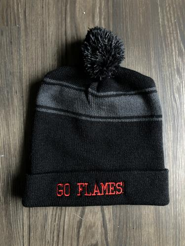 Red embroidery on a beanie