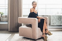 Nicole Richie on our Nico swivel chair.