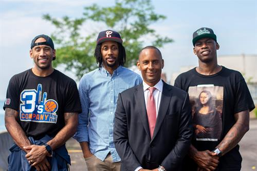 Attorney Barton Morris with the Viola Extracts team (including NBA veteran Al Harrington, far right) after the dismissal of all criminal charges