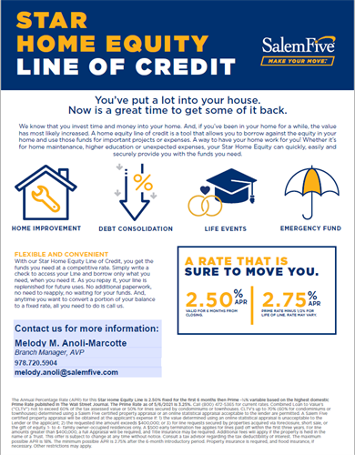 Make your move to Salem Five Tewksbury Home Equity Line of Credit promo