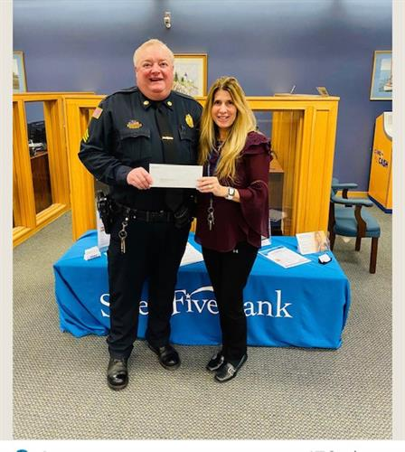 Salem Five - Tewksbury is proud to suppor the Tewksbury Police Benevolent Society.  Today, Sgt Mark Perry (retired) of the TPBS accepted a donation from Salem Five - Tewksbury to support the community