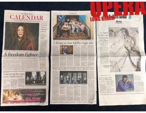 The world premiere LBO opera, The Central Park Five, was featured in news stories from the New York Times, the New Yorker to a full page spread in the Los Angeles Times. Throughout the country people were reading that Long Beach is a hub for new ideas and innovative projects.