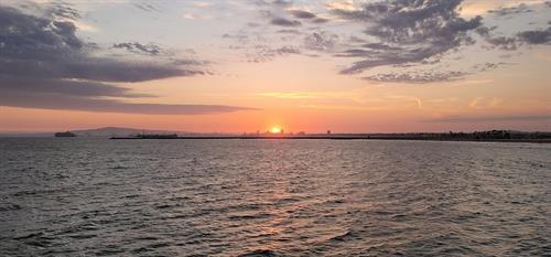 Sunset behind downtown Long Beach
