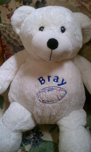 Stuffed animal with special message embroidered