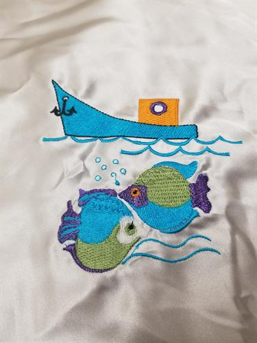 Fishes and boat embroidery