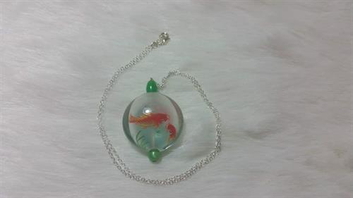 925 silver inner glass painting necklace by Grace Yu Art Studio