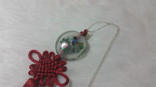 925 silver inner glass painting with Chinese tessal knot necklace by Grace Yu Art Studio