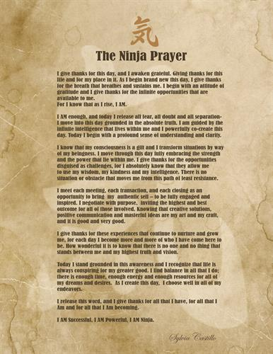 "The Ninja Prayer > publisend in ""Ninja Selling"" by Larry Kendall. Written by Sylvia Castillo"