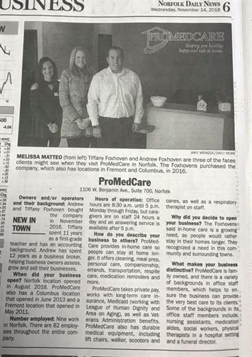 Norfolk Daily News--Promedcare New in Town