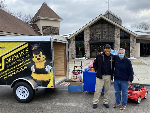 Steve delivers Christmas donations to St. Norberts in Paoli, PA.