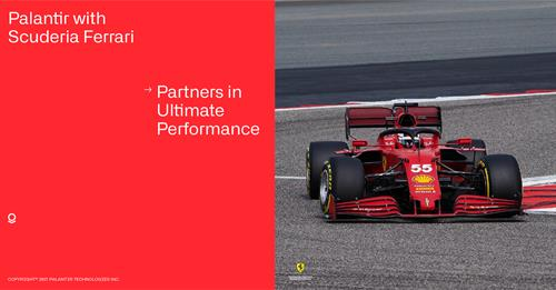 2 Drivers, 20 Races, 2000 Laps, 8000 Sensors, and 1.5 Trillion Data Points per season –  ingested, analyzed, and modeled at speed. Palantir with Scuderia Ferrari.
