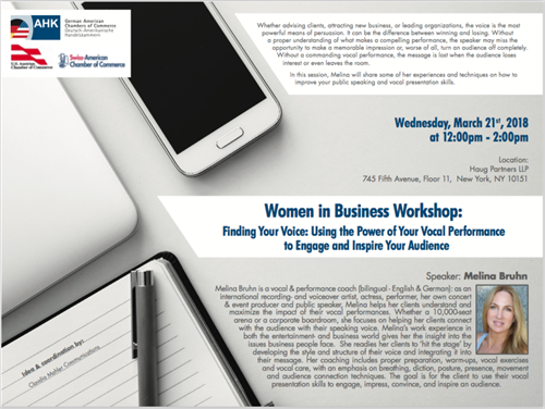 "Melina's 'Women in Business' Workshop ""FINDING YOUR VOICE"""