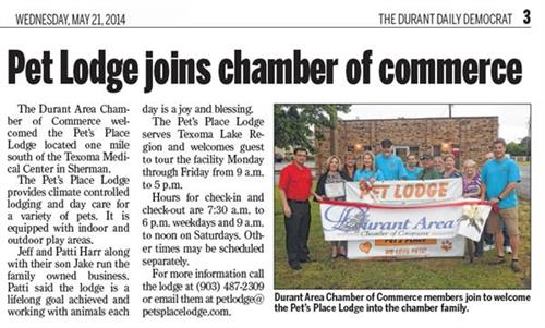 Pet's Place Lodge joins Durant Chamber of Commerce