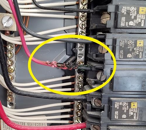 Overheated wire inside Panel Box.