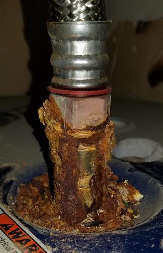 Corrosion at Water Heater Connections