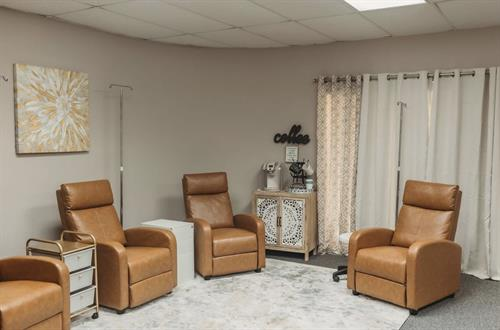Relax in our IV hydration lounge, by yourself or bring a few friends or family with you