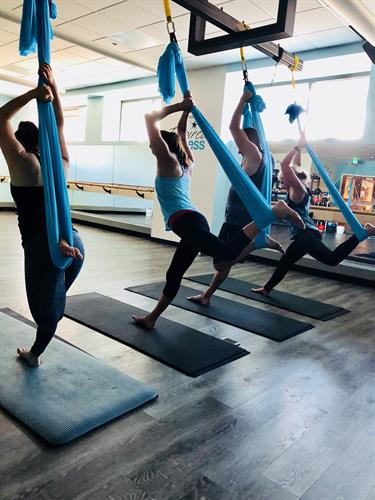 Aerial Yoga is included in our membership.  Feels so wonderful to stretch!