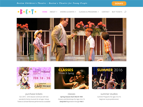Boston Children's Theatre website design & development