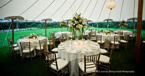 Tidewater Sailcloth Tent with Fruitwood Chiavari Chairs